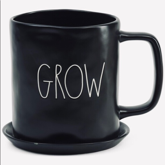"💎NWT💎Rae Dunn ""GROW"" Ceramic MUG Planter (Black)"